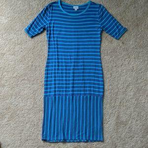 Never worn Lularoe blue striped Julia dress